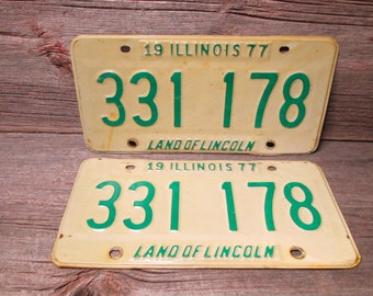 Illinois License Plate 1977 Set or Single Green and White 331 178
