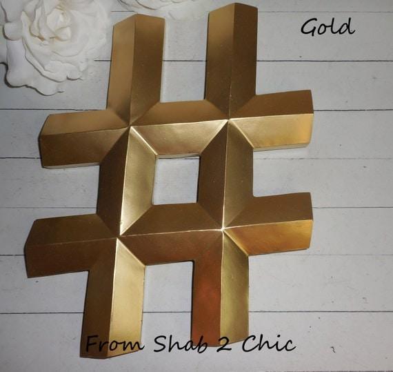 Items similar to gold hashtag pound sign alphabet for Decor hashtags
