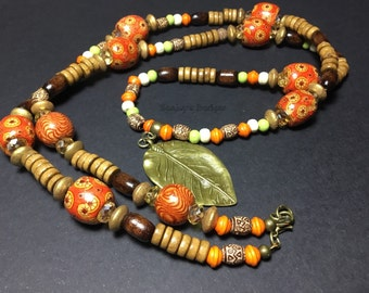 Tribal beaded necklace 19""