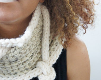 Crochet Knit Cowl with Knit Rope accents . Super Soft and Warm . Wool Acrylic Blend . Shawl . Cowl