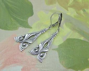 Pendant Earrings, Silver Dangle Earrings, Victorian Earrings, Triangle Earrings, Scroll Design Earrings, Flower Earrings, Silver Earrings
