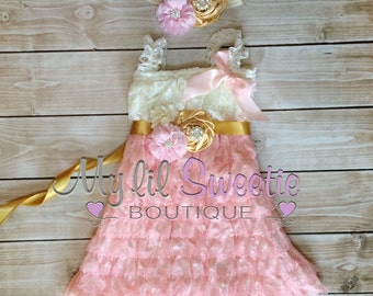 Ivory, light pink, gold 3 piece set, dress, sash, headband, baby girl outfit, special occasion dress, toddler dress, girls dress,