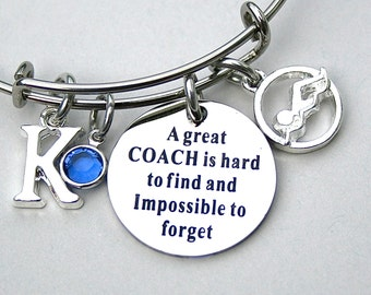 A Great COACH Is Hard To Find And Impossible To Forget , Swim Charm Bracelet, Personalized Initial, Birthstone, Team Coach, Coach Gift , 305