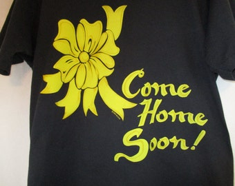 Vintage 90s 1991 Black Iraq War Yellow Ribbon Come Home Soon T Shirt XL