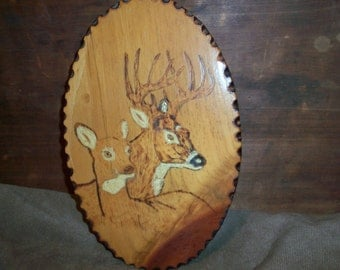 Vintage Soldered Handmade Wooden Deer Buck Plaque Cabin Hunting Forest Wildlife