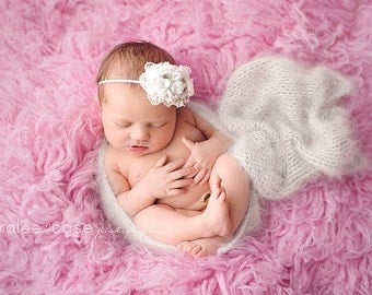 Newborn Angora Knit Wrap, Newborn Photography Prop, Several Color Options