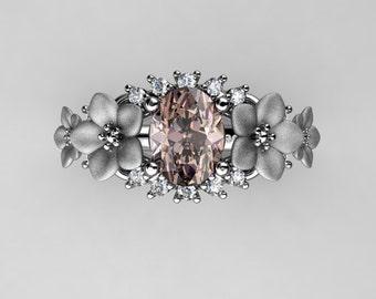 Nature Inspired 14K White Gold 1.25 Ct Oval Morganite Diamond Leaf Vine Floral Engagement Ring R511S-14KWGDMO