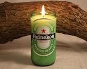 Beer Bottle Candle Upcycled from Heineken Beer Bottle, Custom Made Candle