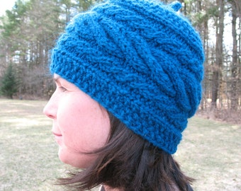 Hand Knit Hat Beanie Slouch Blue Turquoise Aqua Ocean Teal Wool Original Design Made in Vermont Peace Fleece