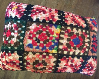 Vintage Granny Square Pillow Cover - 24 Squares - Repair or Repurpose