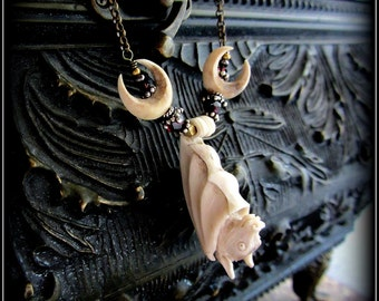 Moon Necklace w/ Vampire Bat ~ Halloween w/ Gothic Victorian Garnet ~ Creepy Taxidermy Jewelry ~ Witchy Occult Wicca ~ Pagan Crescent Moon