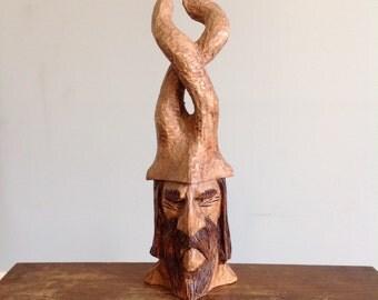 "Original hand carved 12"" elf elvin wood spirit woodspirit wooden sculpture true carving woodland folk art rustic home decor collectible"