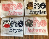 Barnyard first birthday shirt, I'm one farm animal birthday tshirt, old mcdonald 1st birthday bodysuit