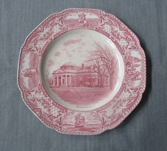 "Crown Ducal COLONIAL TIMES 10.5"" Dinner Plate, Monticello, Pink Scalloped Transferware, c. 1930s"