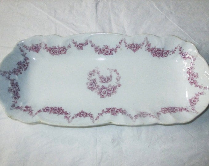 "John Maddock & Sons Ltd 11"" Oval Tray HEUMANN Purple Mulberry Pink Floral Garlands, c. 1896"