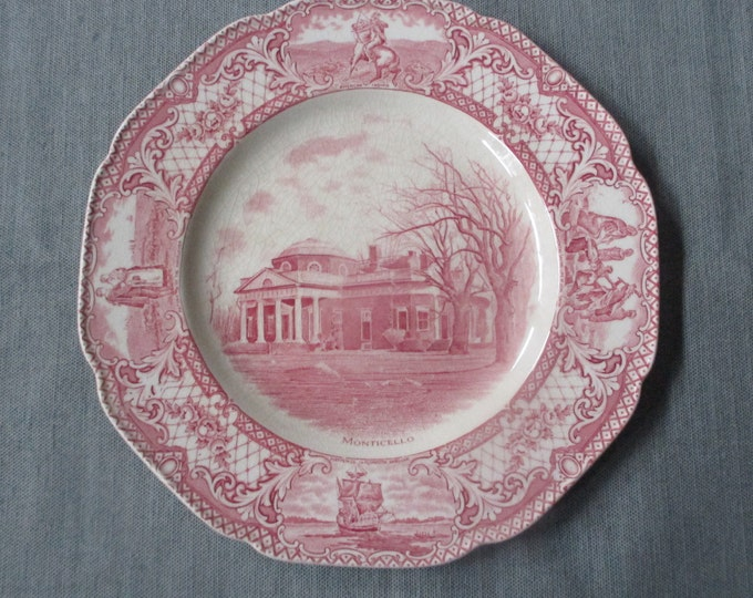 """Crown Ducal COLONIAL TIMES 10.5"""" Dinner Plate, Monticello, Pink Scalloped Transferware, c. 1930s"""