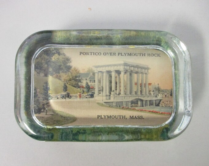 "4-1/8"" x 2-5/8"" Vintage Glass Block Paperweight ""Portico over Plymouth Rock, Plymouth, Mass."""