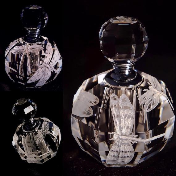 Hand engraved crystal perfume bottle, dragonflies , homedecor, perfume bottle, wedding gift, bridal