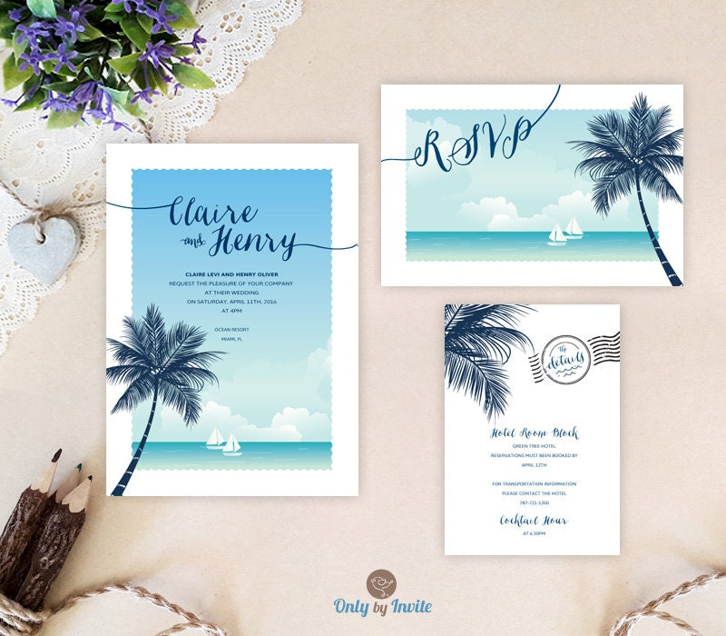 Destination Wedding Invitations Printed Beach Themed Wedding