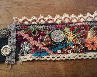 Hand embroidery and rich embellished colorful festive boho cuff bracelet