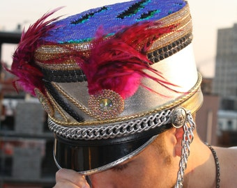 Burning Man Hat, Marching Band Hat, Custom Band Hat, Burner Fashion Hat, Feather Headpiece, Festival Hat, Burner Style Hat, Majorette