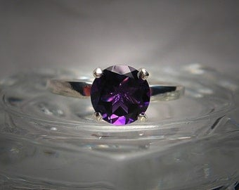 Natural 8mm Round African Amethyst Sterling Silver Solitaire Ring Made to Order