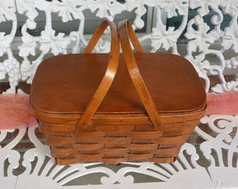 Vintage Picnic Basket - Wicker, Wood, Beautiful Color - 1960's - Fabulous!