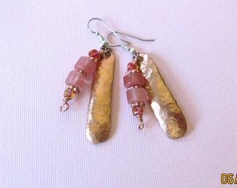 Peach and copper earrings, copper earrings,hypoallergenic, surgical steel