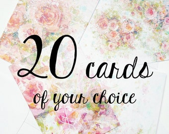 20 greeting cards of your choice with envelopes