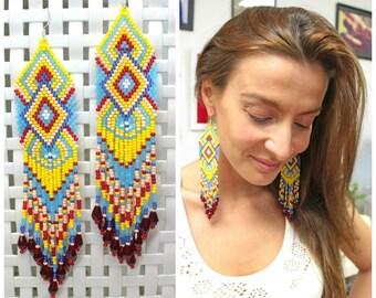 Beaded long earrings, ethnic style earrings, beadwork jewelry, beaded fringe earrings, Indian style