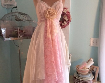 Woodland Wedding Dress Upcycled Pale Pink Fairytale Tattered Fantasy~ Sale was110.00 now 75.00