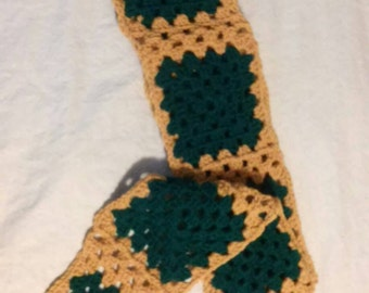 Granny Square Scarf, Teal and Gold