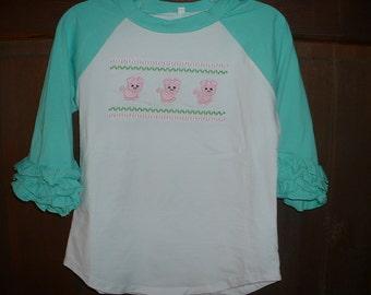 Faux Smocked Mint Green/White Raglan Ruffle Shirt--Pigs--Size5