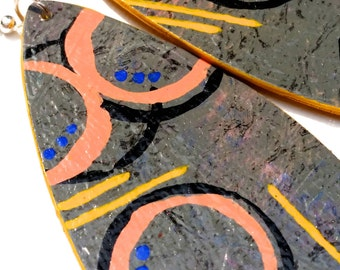 Circle, Striped, Dangle, Teardrop, Wooden, Painted, Mustard, Pewter, Peach, Mixed Media, Original