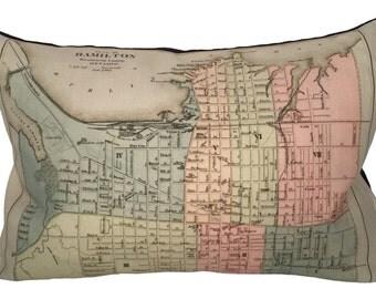 Hamilton Vintage Map Pillow - FREE SHIPPING