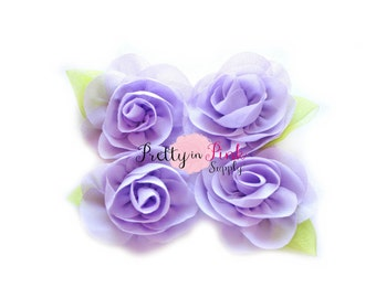 Lavender Chiffon Rose with Leaf Flower...You Choose Quantity...Chiffon Rose Flower...Rolled Rosettes...Mini Rolled Rosettes...Shabby Rose