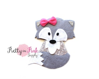 Grey FOX Felt/GlitterApplique -Flat Back Felt Appliques -Felt Crafts -Felt- Felties-Woodland Animal Feltie Applique-Feltie DIY Craft Supply