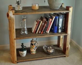 Cedar log bookshelf