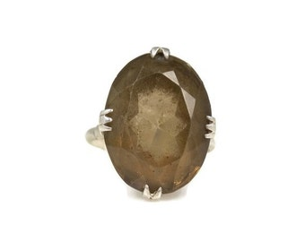 Art Deco Sterling Silver Smoky Quartz Ring 6
