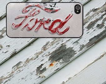 Red Vintage Ford Emblem Image Design on  iPhone  5 / 5s / 5c / 6 / 6 Plus/7/7 Plus Rubber Silicone Case