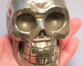 Pyrite Crystal Skull Giant Sized Hand Carved 4 Inches Helps Create Large Cash Flow! Discounted! Save big!