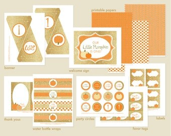 Gold and Orange - Little Pumpkin First Birthday Party Printable Set: Autumn Fall 1st B-day Party Kit - Banner, Cupcake Toppers, Decorations