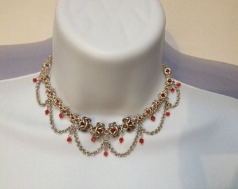 Sterling Silver with Ruby Red Swarovski Crystals