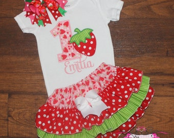 Strawberry Pink and Red Birthday Ruffled Bloomers Outfit