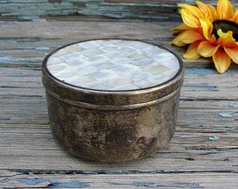 Vintage Metal Container Round Mother Of Pearl Lid MOP Inlay