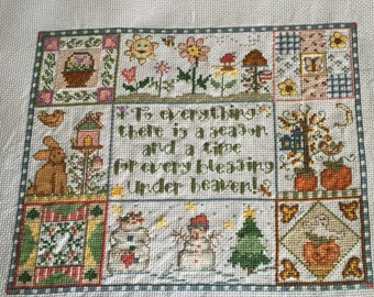 Seasons completed cross stitch