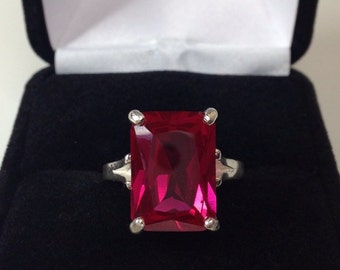 BEAUTIFUL 8ct Emerald Cut Ruby Ring Sterling Silver Sz 5 6 7 8 9 Ruby Jewelry Trends Trending Jewelry Gift July Birthstone Mom Wife Ladies