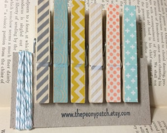 Mint, Coral, Yellow and Grey Covered Clothespins, Washi Covered Clothes Pins, Photo String
