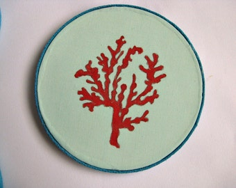 Coral and aqua coasters for your beach home decor. Hand painted on absorbent clay fabric. Set of 4.
