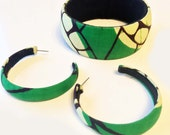 Ankara bangle and hoop earring gift set, upcycled African print fabric, Green with Envy, green fabric